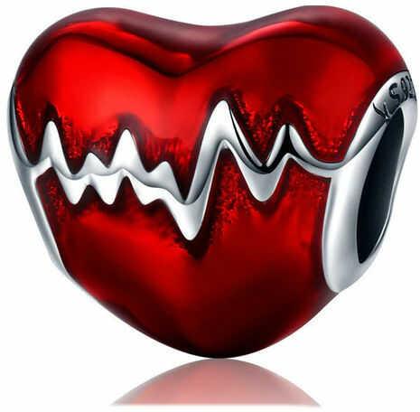 Rodowany srebrny charms do pandora serce linia życia tętno puls srebro 925 BEAD106