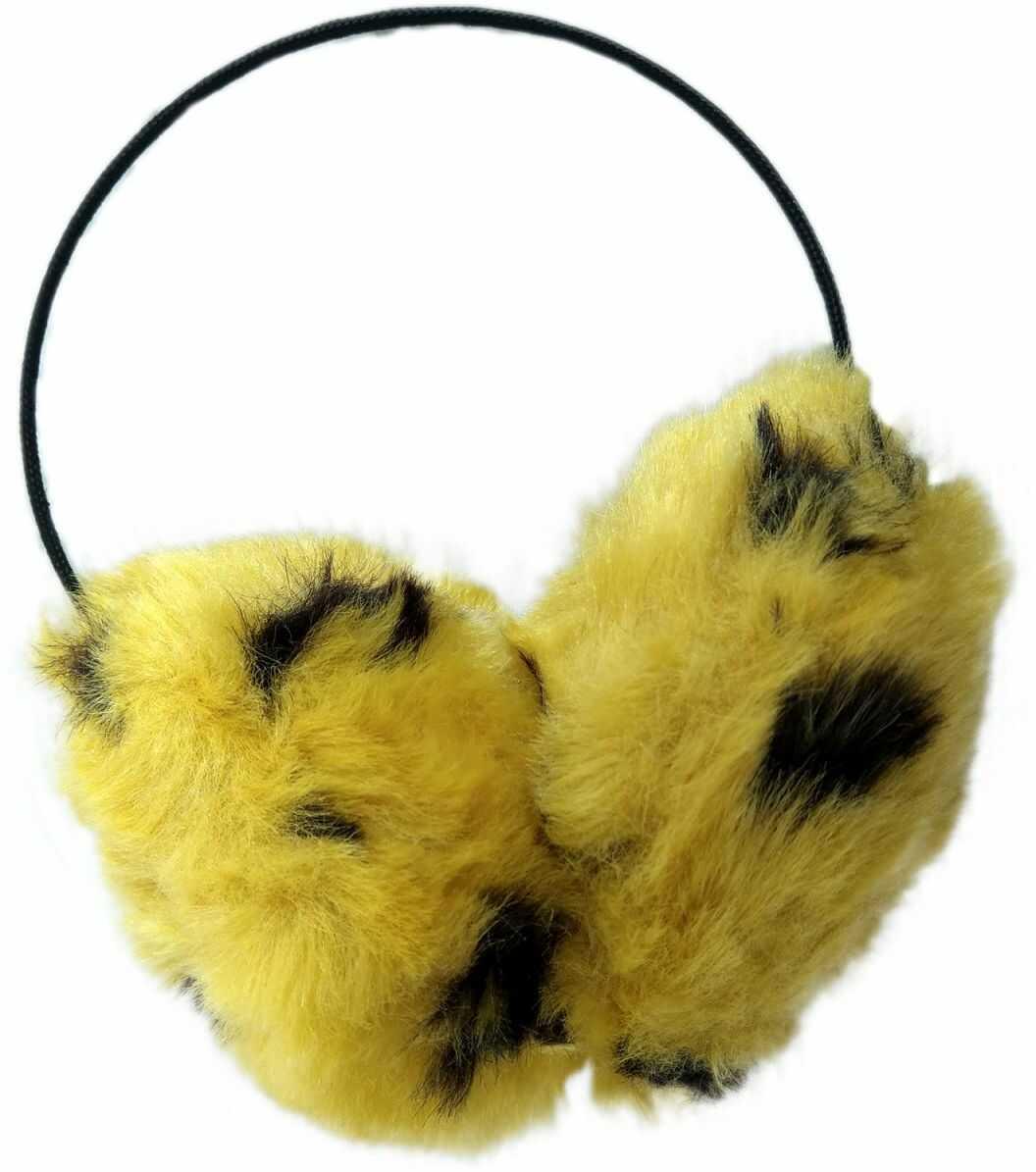 1 Kiddy nauszniki z futerkiem żółty z czarnym