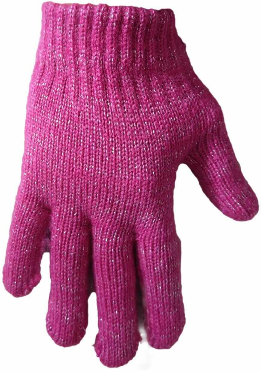1 Kiddy rękawiczki 5-palczaste dziewczęce różowe ze srebrną nitką