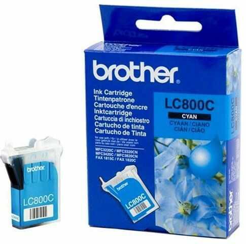 Wyprzedaż Oryginał Tusz Brother LC-800C do Brother Fax-1815C Fax-1820C MFC3220C MFC3320C MFC3320CN MFC3420C MFC3820CN 400 str. cyan, pudełko zastępcze, oryginalny airbag/folia