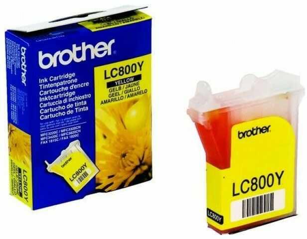 Wyprzedaż Oryginał Tusz Brother LC-800Y do Brother Fax-1815C Fax-1820C MFC3220C MFC3320C MFC3320CN MFC3420C MFC3820CN 400 str. yellow, pudełko zastępcze, oryginalny airbag/folia