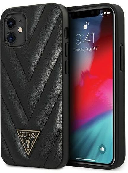 "Guess GUHCP12SPUVQTMLBK iPhone 12 mini 5,4"" czarny/black hardcase V-Quilted Collection"