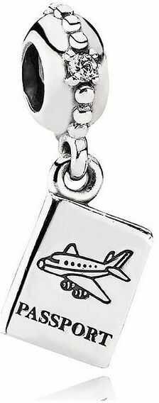 Rodowany srebrny wiszący charms do pandora paszport passport srebro 925 BEAD15