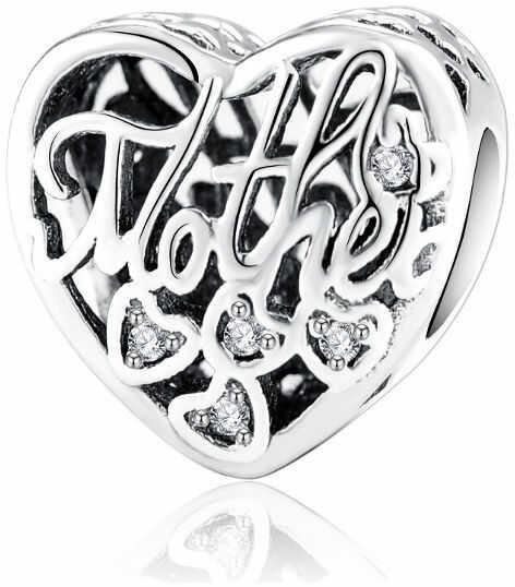 Rodowany srebrny charms do pandora serce dla mamy cyrkonie srebro 925 BEAD11