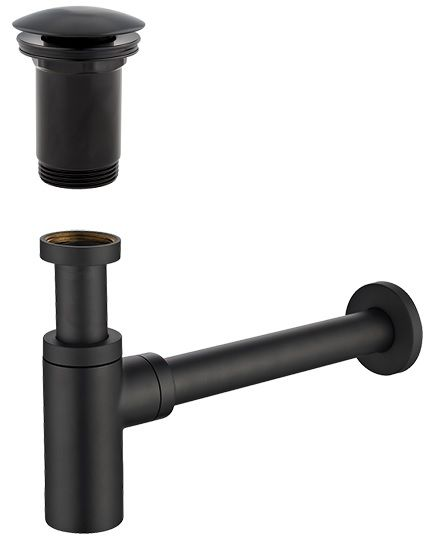 Omnires syfon umywalkowy z korkiem klik-klak czarny A706BL/A186BL
