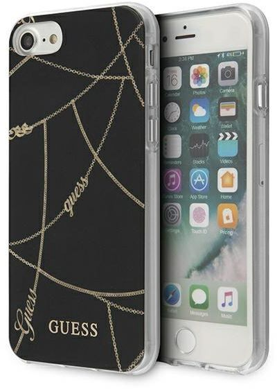 Guess GUHCI8PCUCHBK iPhone 7/8/SE 2020 czarny/black hardcase Gold Chain Collection