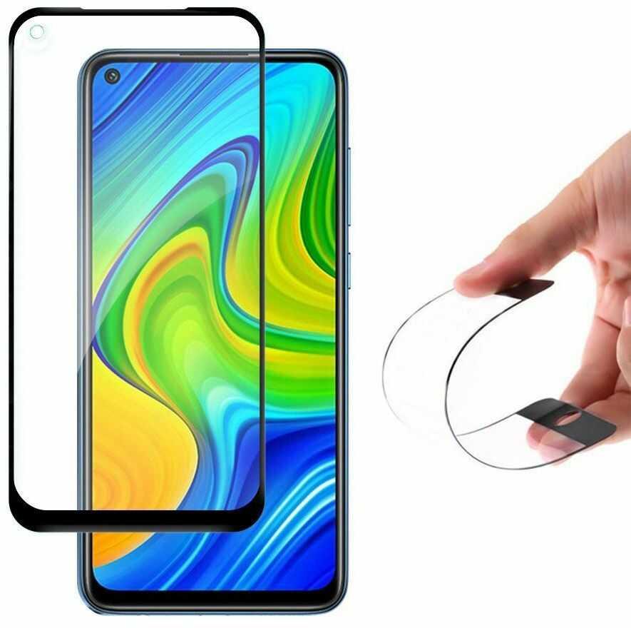 Wozinsky Full Cover Flexi Nano folia szklana szkło hartowane z ramką Xiaomi Redmi 10X 4G / Xiaomi Redmi Note 9 czarny