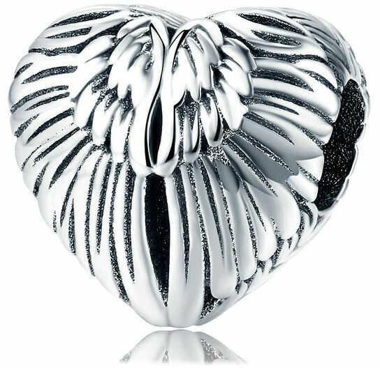 Rodowany srebrny charms pandora serce serduszko skrzydła anioła srebro 925 BEAD29