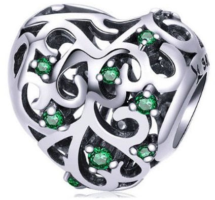 Rodowany srebrny charms pandora serce serduszko heart szmaragdowe cyrkonie srebro 925 BEAD080