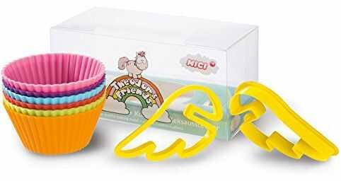 Nici 40974.0 - jednorożec Theodor & Friends silikonowe foremki do muffinek (6 sztuk) z wykrawarką do ciastek (2 sztuki)