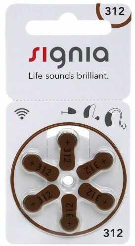 6 x baterie do aparatów słuchowych Signia 312