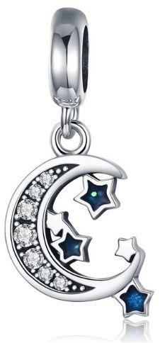 Rodowany srebrny wiszący charms pandora księżyc gwiazdy moon stars cyrkonie srebro 925 BEAD28
