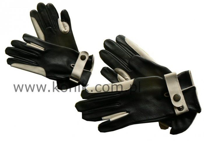 Rękawiczki KENIG skóra cielęca i jagnięca czarne z białą wstawką