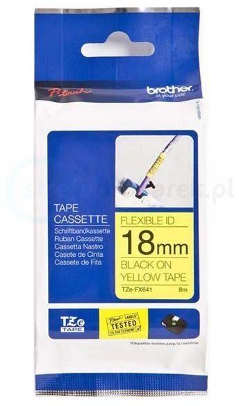 Oryginalna taśma flexi Brother TZe-FX641 18mm x 8m żółta/ czarny nadruk