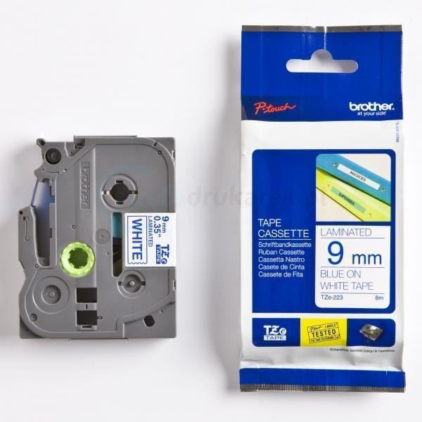 Oryginalna taśma Brother TZe-223 9mm x 8m biała/niebieski nadruk