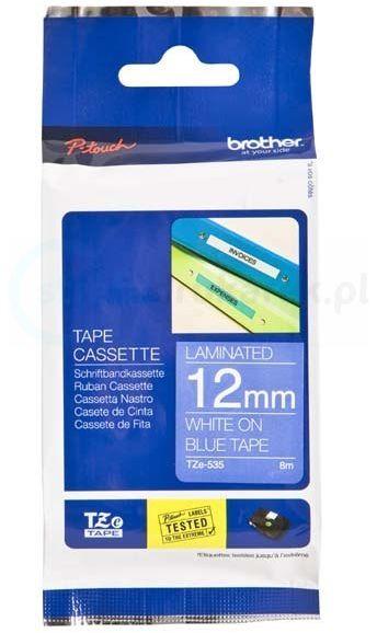 Oryginalna taśma Brother TZe-535 12mm x 8m niebieski/biały nadruk