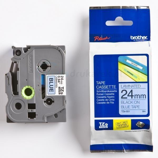 Oryginalna taśma Brother TZe-551 24mm x 8m niebieski/czarny nadruk