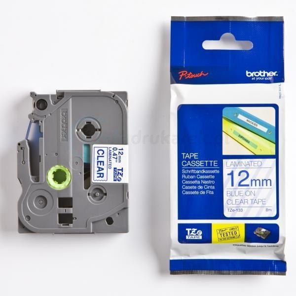 Oryginalna taśma Brother TZe-133 12mm x 8m przezroczysta/niebieski nadruk