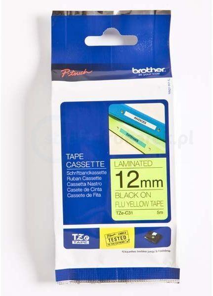 Oryginalna taśma fluorescencyjna Brother TZe-C31 12mm x 5m żółta/czarny nadruk