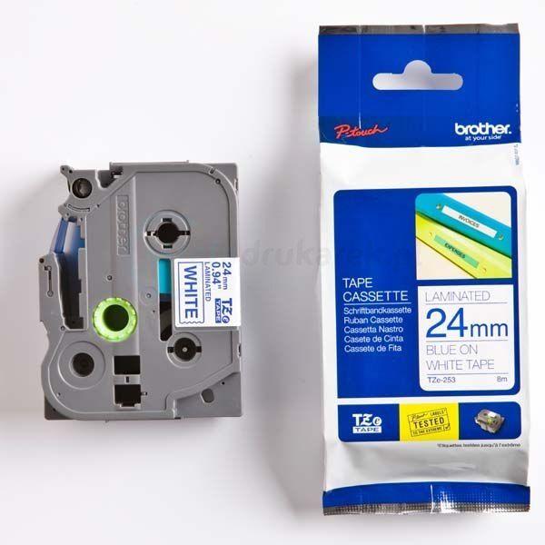 Oryginalna taśma Brother TZe-253 24mm x 8m biała/niebieski nadruk