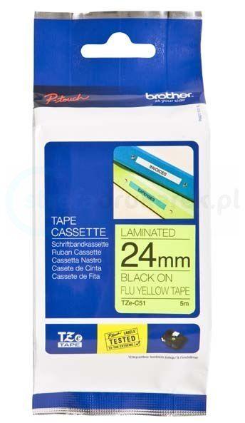 Oryginalna taśma fluorescencyjna Brother TZe-C51 24mm x 5m żółta/czarny nadruk
