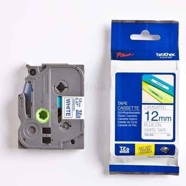 Oryginalna taśma Brother TZe-233 12mm x 8m biała/niebieski nadruk