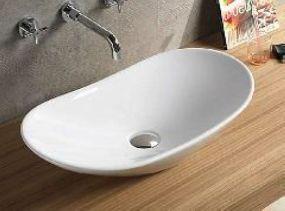 Umywalka nablatowa 62x34x15 cm ceramiczna biała