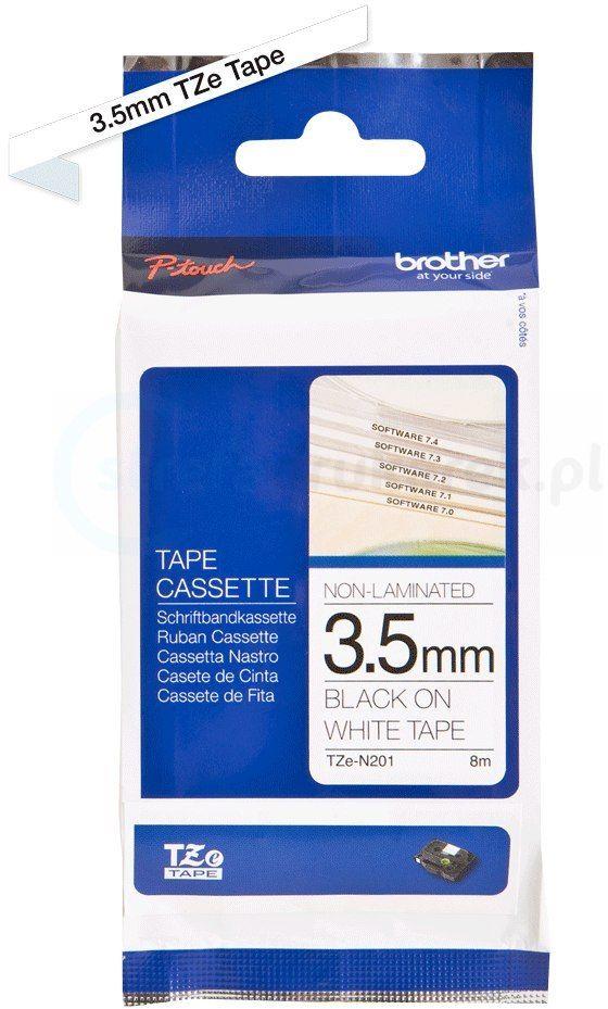 Oryginalna taśma nielaminowana Brother TZe-N201 3.5mm x 8m biała/czarny nadruk