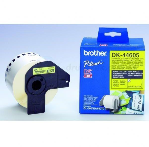 Oryginalna taśma Brother DK 44605 62mm x 30.48m żółta/czarny nadruk