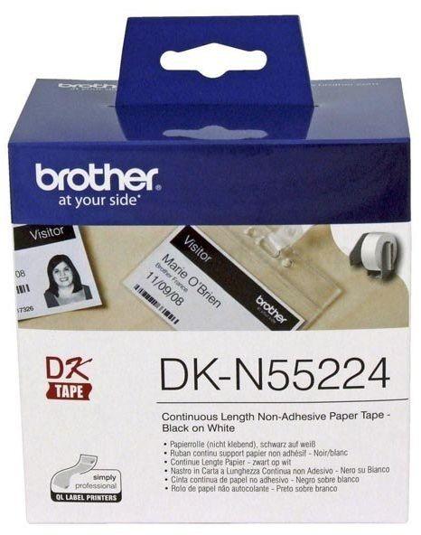Oryginalna taśma Brother DK N55224 62mm x 30.48m biała/czarny nadruk bez kleju