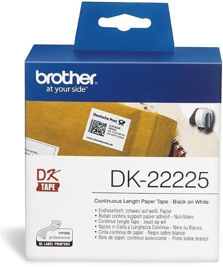 Oryginalna taśma Brother DK 22225 38mm x 30.48m biała/czarny nadruk