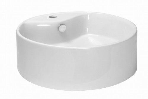 Umywalka 46x15,5 cm nablatowa okrągła z otworem na baterię ,biała