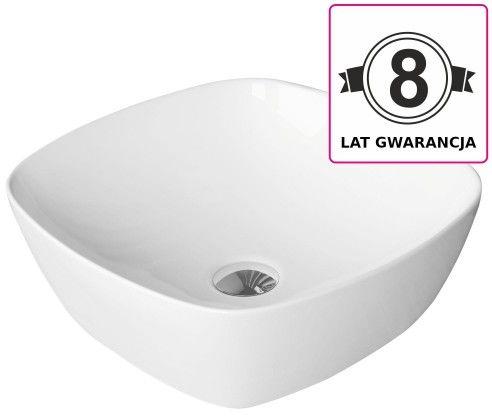 Umywalka nablatowa 40,4x40,4x13,2 cm, biały połysk