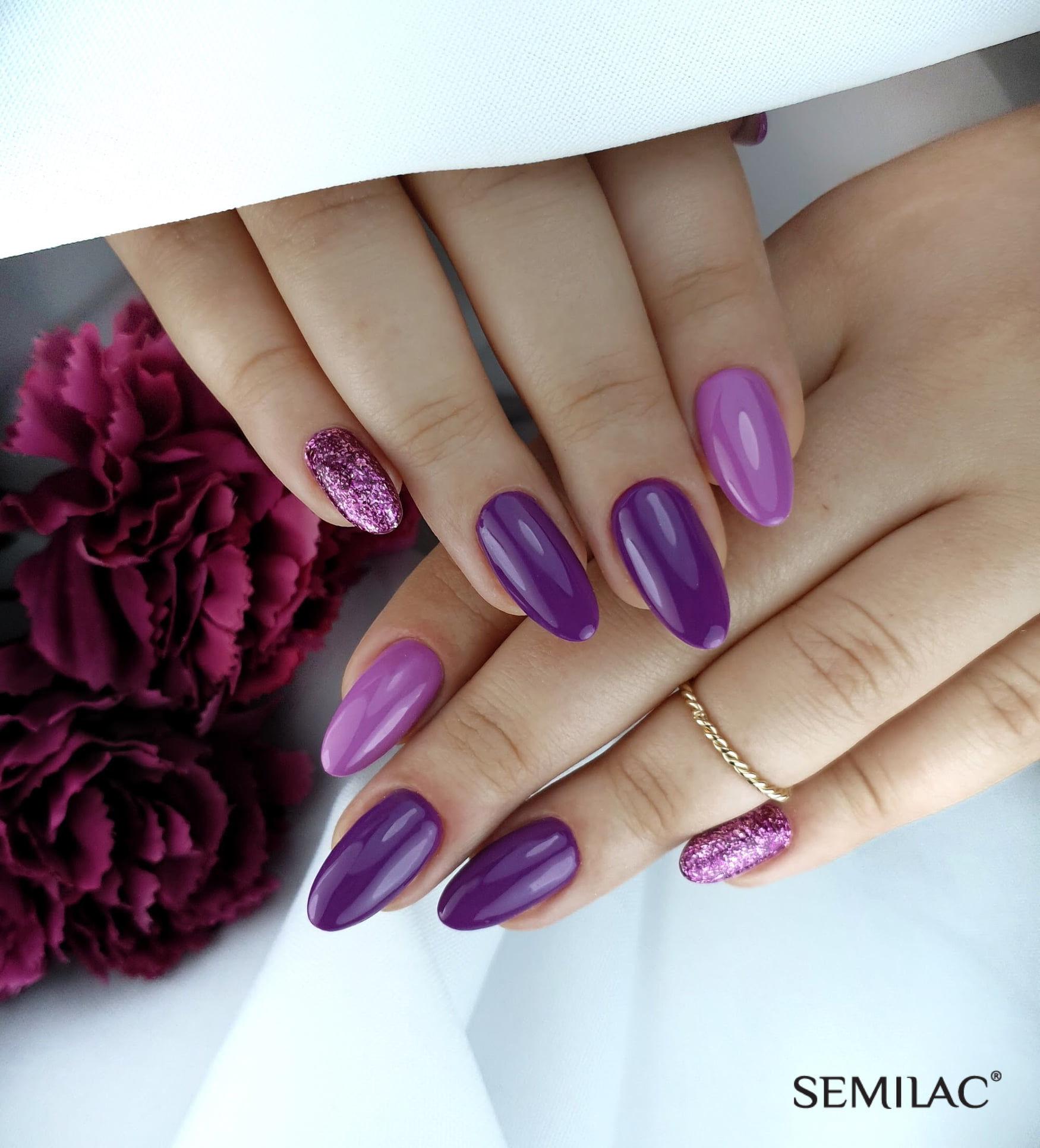 SEMILAC 010 Pink & Violet UV LED Lakier Hybrydowy 7ml
