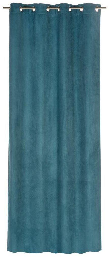 Zasłona SUEDE niebieska 140 x 260 cm na przelotkach INSPIRE