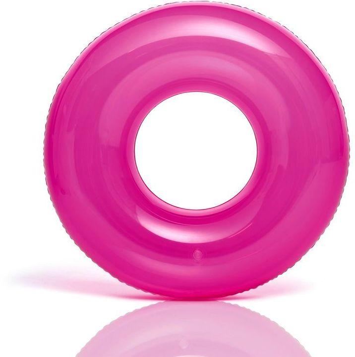 Koło do pływania TRANSPARENT różowe Intex 59260