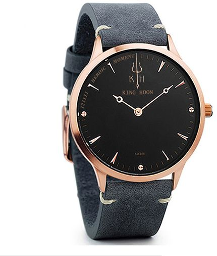 Zegarek KING HOON na pasku - czarno-złota tarcza