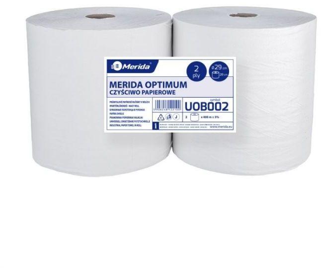 Czyściwo papierowe Merida Optimum 29, długość 400 m, dwuwarstwowe, białe, zgrzewka 2 sztuki