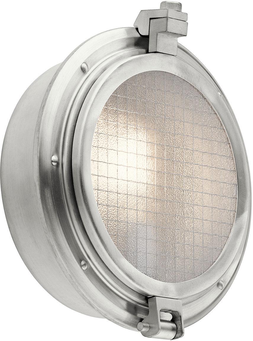 Kinkiet zewnętrzny Clearpoint KL/CLEARPOINT Kichler okrągła oprawa w kolorze szczotkowanego aluminium