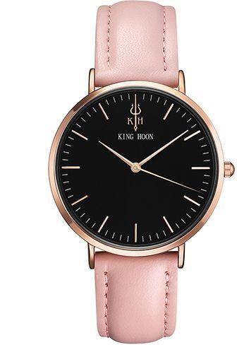 Damski zegarek KING HOON czarno-złoto-różowy