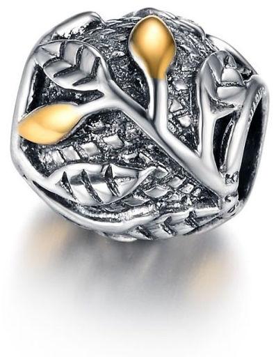 Rodowany srebrny wiszący charms do pandora gałązki listki leafs srebro 925 SY013