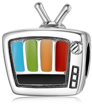 Rodowany srebrny wiszący charms do pandora telewizor TV srebro 925 CHARM247