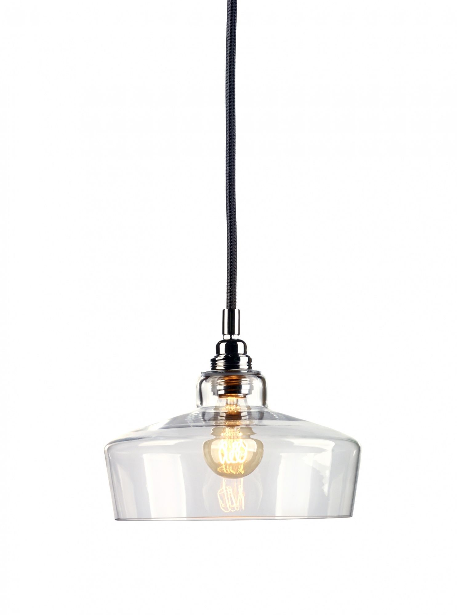 Lampa wisząca Longis III 10142109 oprawa przezroczysta / przewód czarny Kaspa