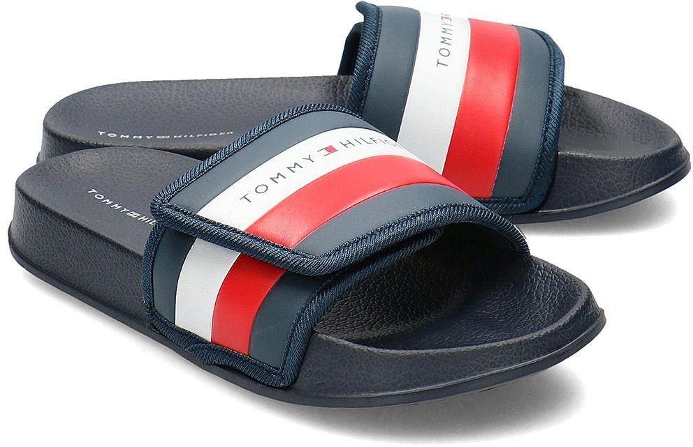 Tommy Hilfiger Maxi Velcro Pool Slide - Klapki Dziecięce - T3B0-30761-0739800 BLUE - Granatowy