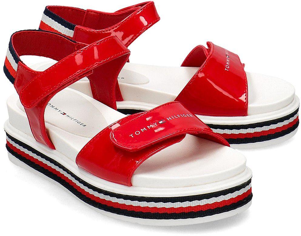 Tommy Hilfiger Platform Velcro - Sandały Dziecięce - T3A2-30650-0774300 RED - Czerwony