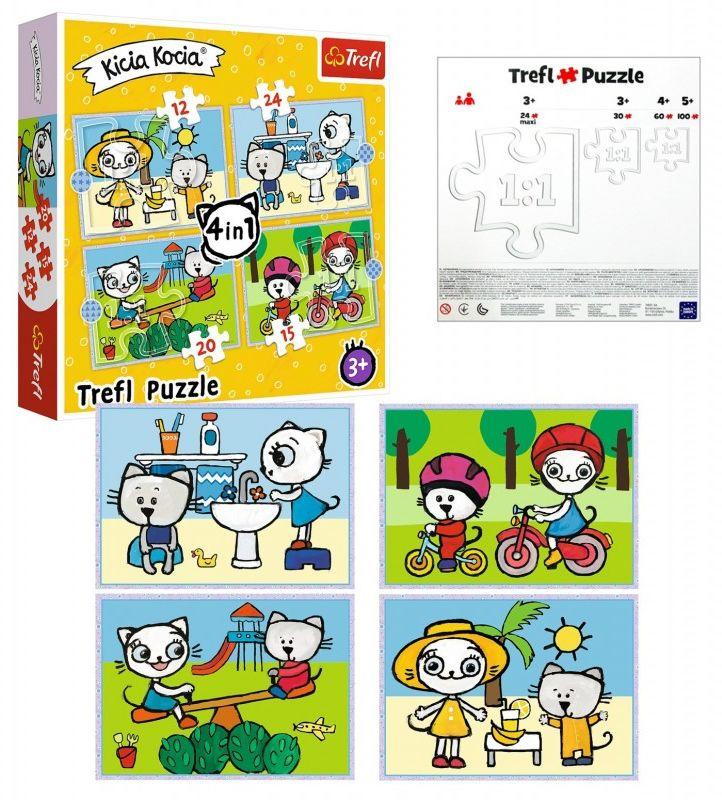 Puzzle 4w1 Dzień Kici Koci Trefl 34372 3+ 6010-TREFL-PUZZLE