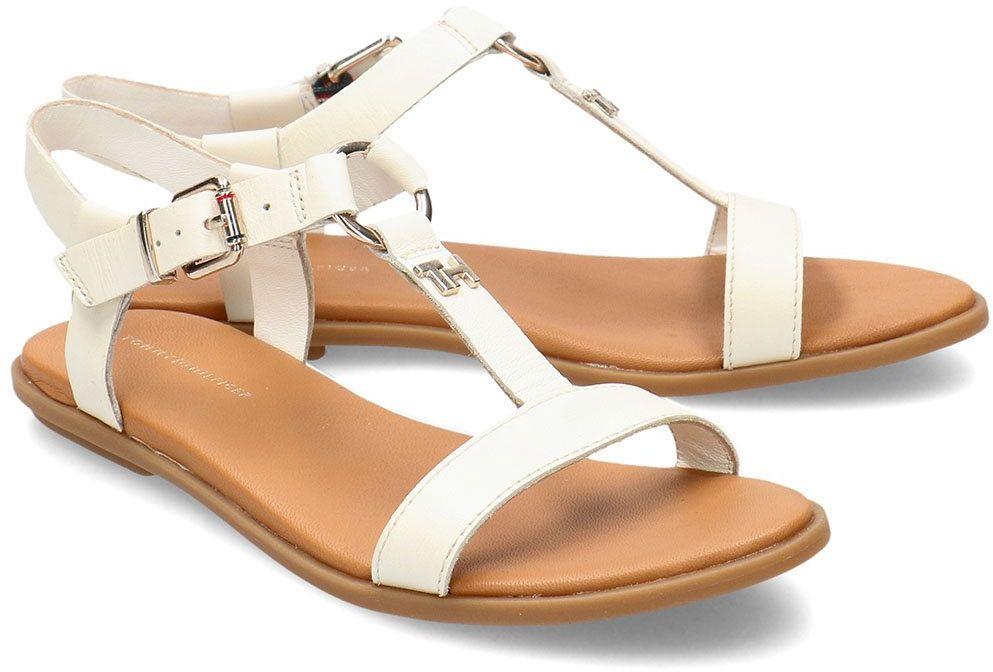 Tommy Hilfiger Feminine Leather Flat - Sandały Damskie - FW0FW04882 YBI - Biały