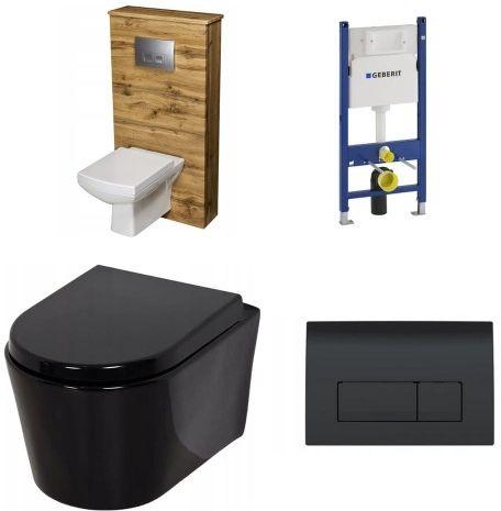 Komplet: Czarna Miska WC + Stelaż Geberit + Czarny przycisk + Zabudowa Kolor naturalny dąb