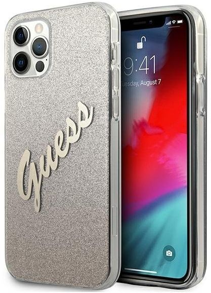 "Guess GUHCP12MPCUGLSGO iPhone 12/12 Pro 6,1"" złoty/gold hardcase Glitter Gradient Script"