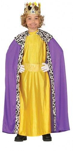 Strój na jasełka dla chłopca Trzech Króli Kacper, fioletowo-żółty